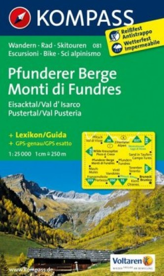 Kompass Karte Pfunderer Berge, Eisacktal, Pustertal. Monti di Fundres, Val d' Isarco, Val Pusteria
